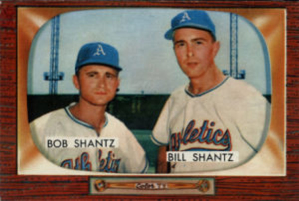 Brothers Bobby and Billy Shantz were featured on the same card in the 1955 Bowman set.