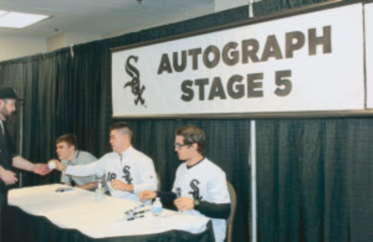 Gavin Sheets (center) and Blake Rutherford (right) at one of the autograph stages at Soxfest.