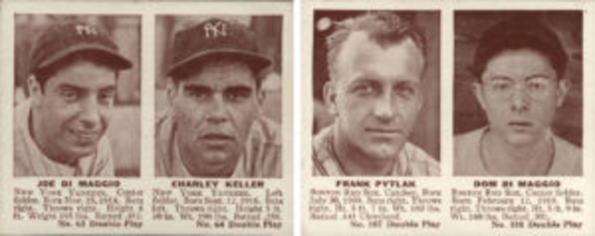 Even though cards in the 1941 Double Play (R330) set featured two players on one card, brothers Dom and Joe DiMaggio did not share a card. Instead, they each shared a card with one of their teammates.