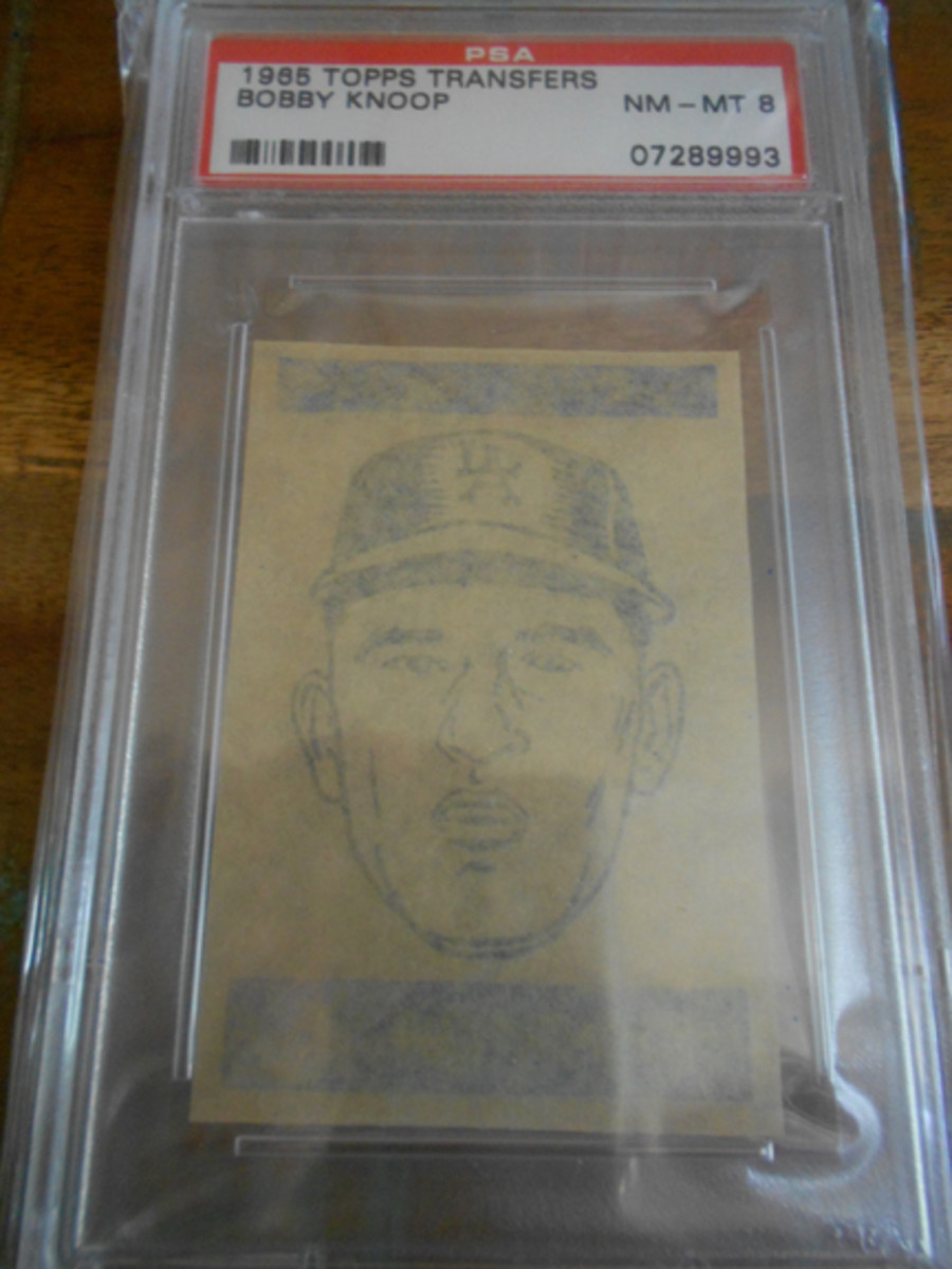 Dealers at the 2014 National Convention reported strong interest in the fragile 1965 Topps Transfers. This Bobby Knoop, a 1-of-1 in PSA 8 with none higher, is among only 37 Transfers graded 8 in the entire set.