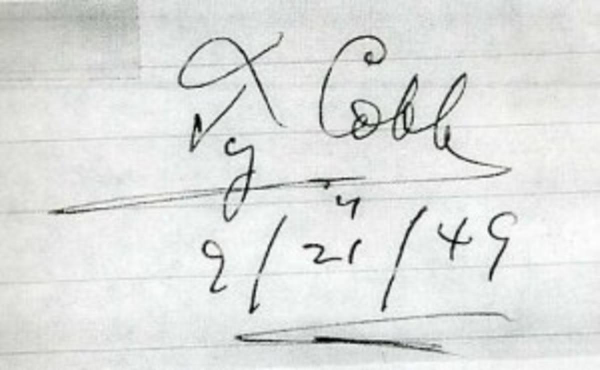 Cobb 1949 signature, genuine