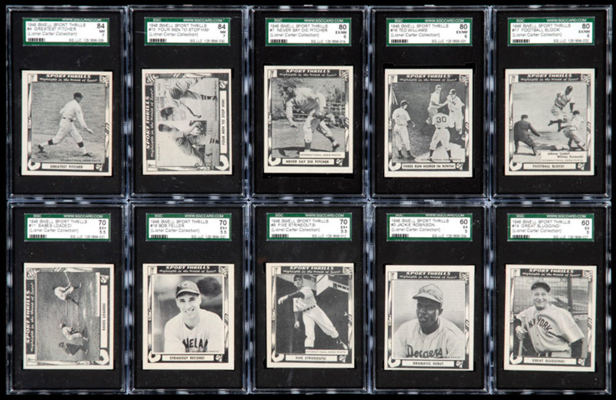"""You won't find many Swell Sport Thrills cards in top condition. Poor quality paper stock and centering issues lend to grades topping out at the """"8"""" level."""