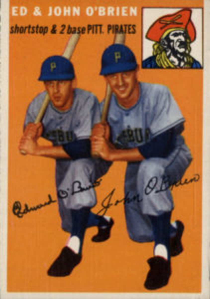 The 1954 Topps Baseball set included a card featuring twin brothers Ed and John O'Brien.