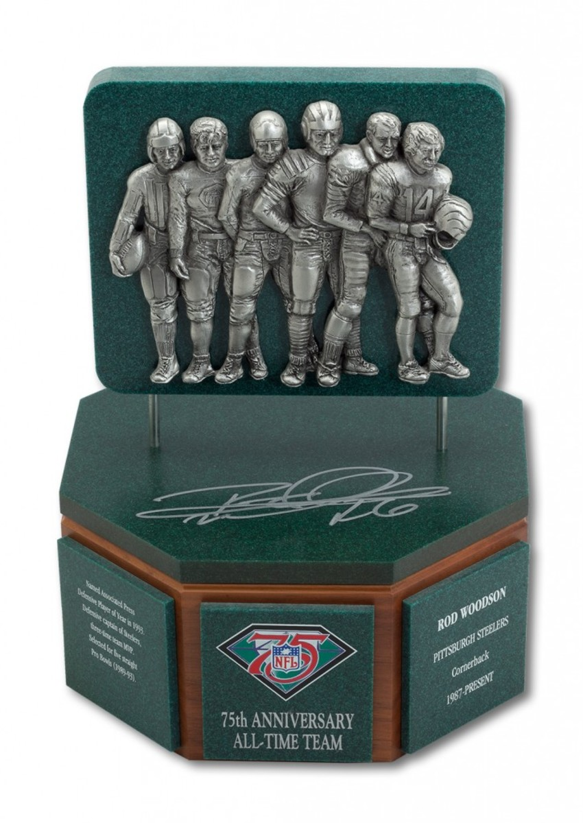 Woodson's Signed '94 NFL 75th Anniv. All-Time Team Trophy