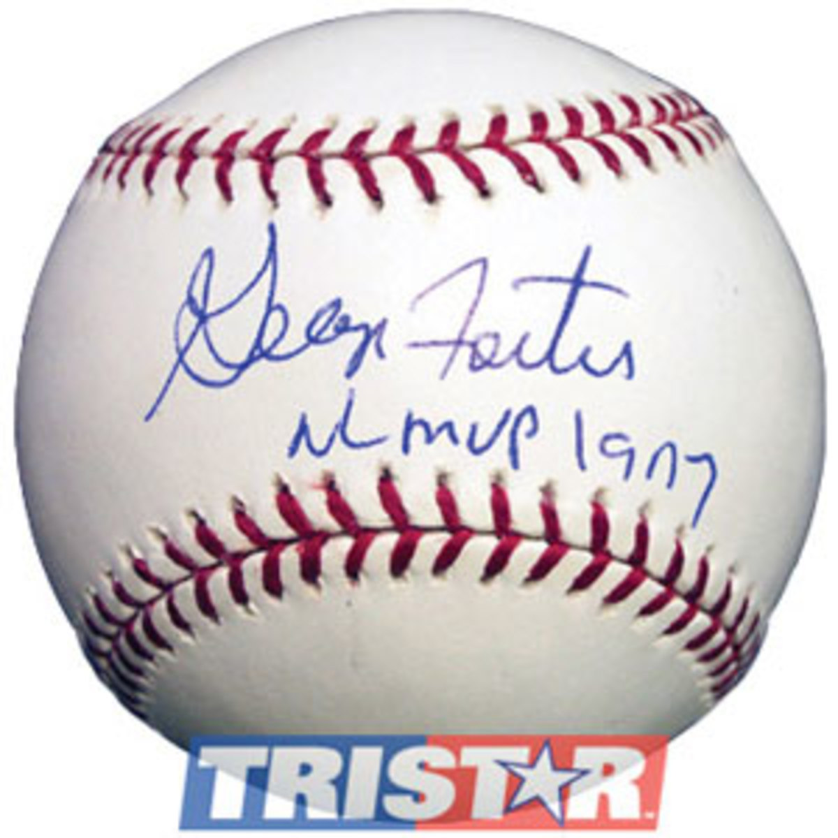 Foster signed ball noting 1977 NL MVP honor.