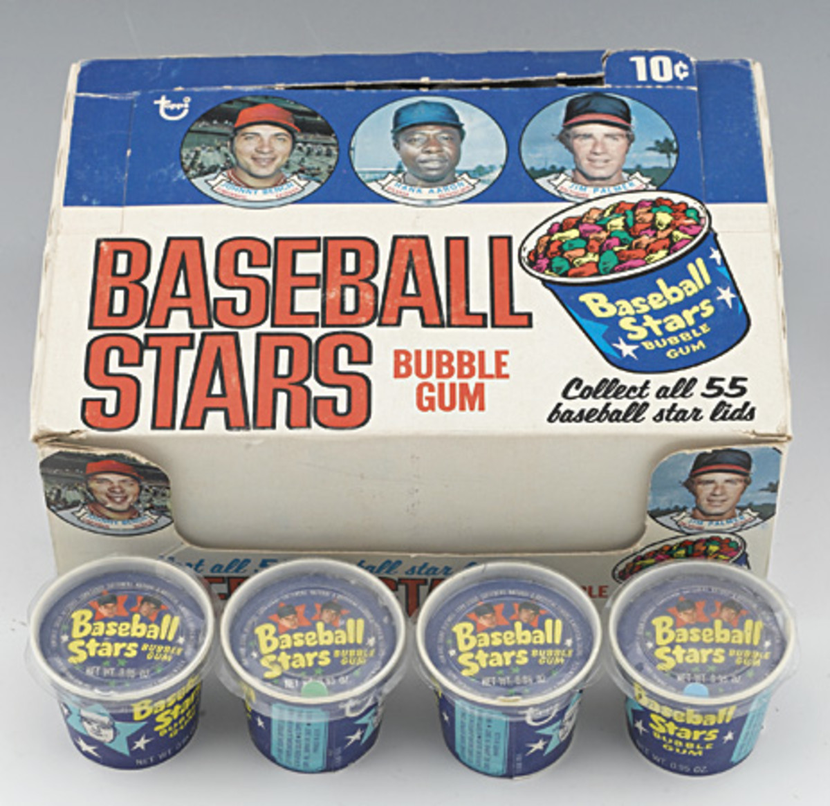 In the early 1970s, Topps released Baseball Stars Bubble Gum that included pictures of baseball players under the lids of the tubs. In 1973, Candy Lid tubs cost 10 cents each, with limited distribution.