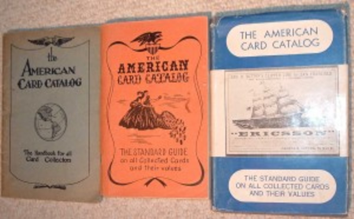 The 1946, 1953 and 1960 editions of The American Card Catalog.