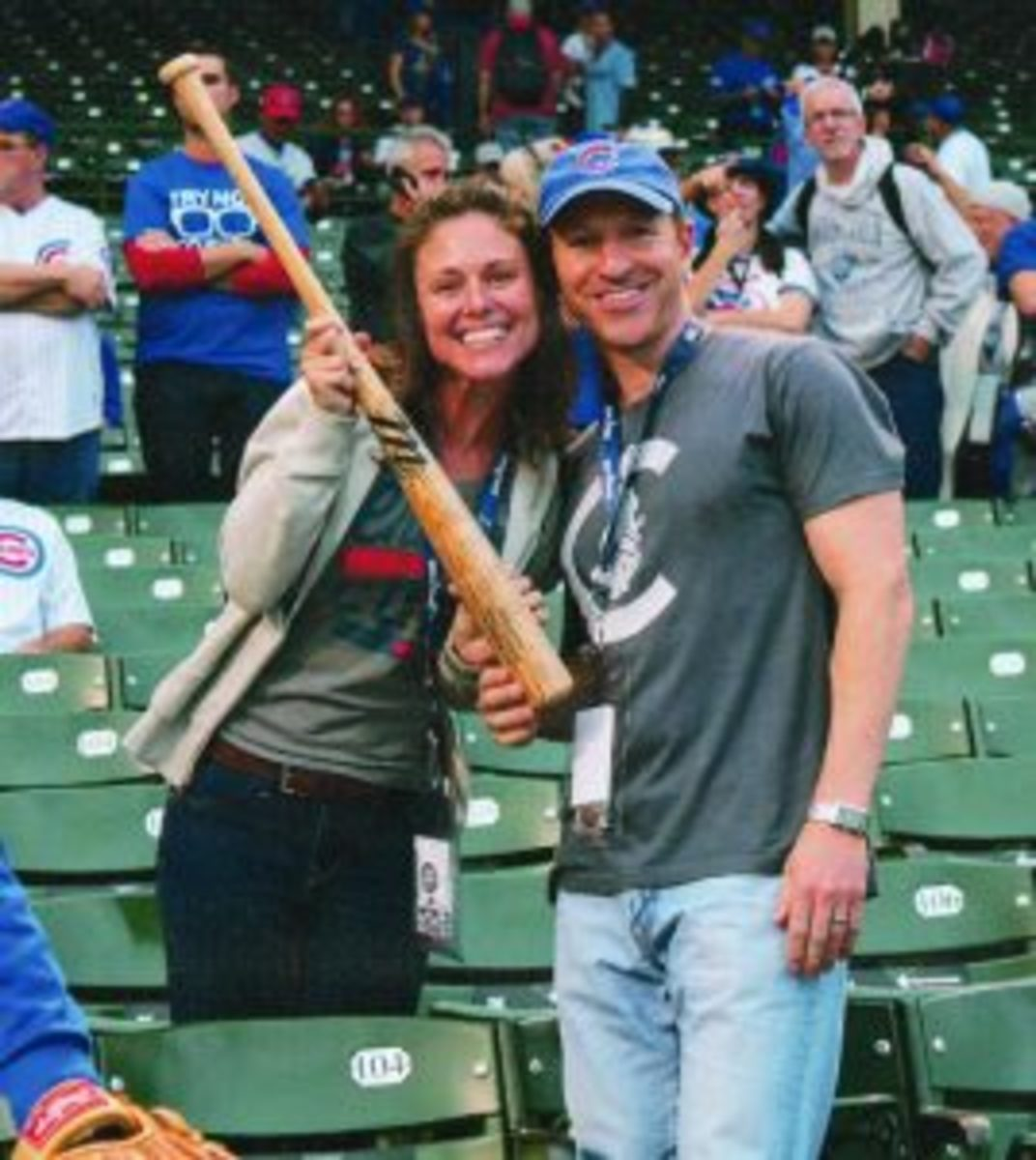 On the spur of the moment Addison Russell gave his bat to this couple after batting practice prior to Game 3 of the World Series.