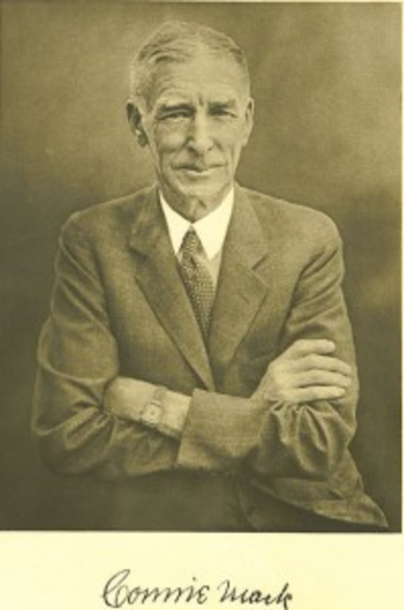 Connie Mack portrait and facsimile signature printed on heavy stock paper and issued as an advertising premium to customers of the Atlantic Refining Co. in 1939.
