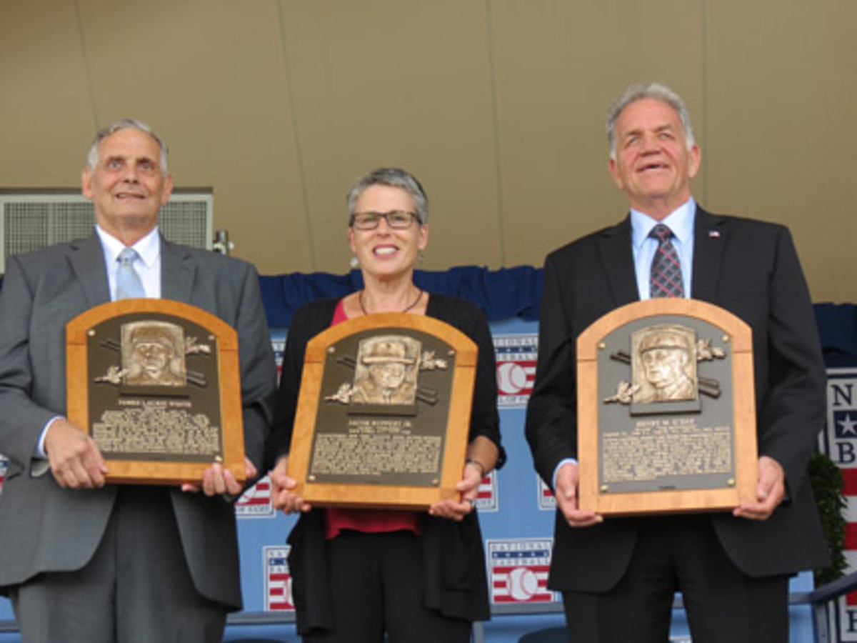 With the 2013 HOF inductees long since passed, accepting the plaques were great, grand nieces and nephews of the inductees: Jerry Watkins, representing Deacon White; Anne Vernon, for Jacob Ruppert; and Dennis McNamara, for Hank O'Day. Photos courtesy of David Moriah.