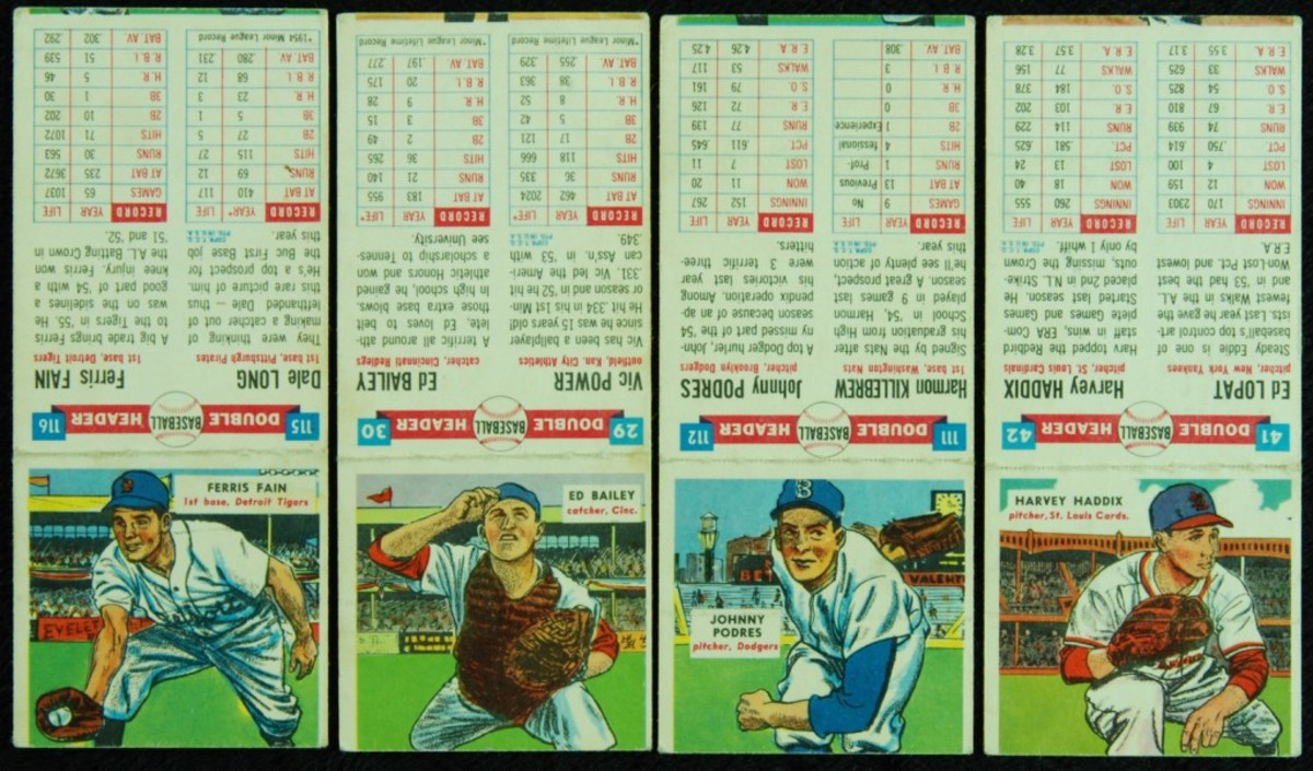 The 1955 Topps Double Headers was mirrored on the 1911 T201 Mecca Double Folders set. The nearly 5-inch tall cards offered a full profile on the front, and when folded over, the upper body of the card back borrowed the legs of the front cover subject.