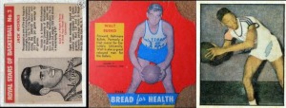 Royal Dessert included basketball players in their 1950 cards, which had to be cut from boxes. Bread for Health and Berk Ross also had cagers.