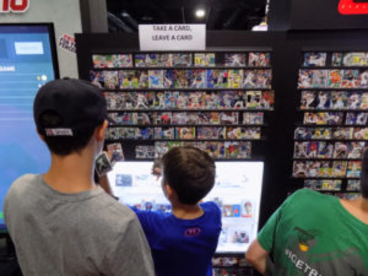 """The """"Take A Card-Leave A Card"""" board hosted by Topps at FanFest was a big hit with collectors."""