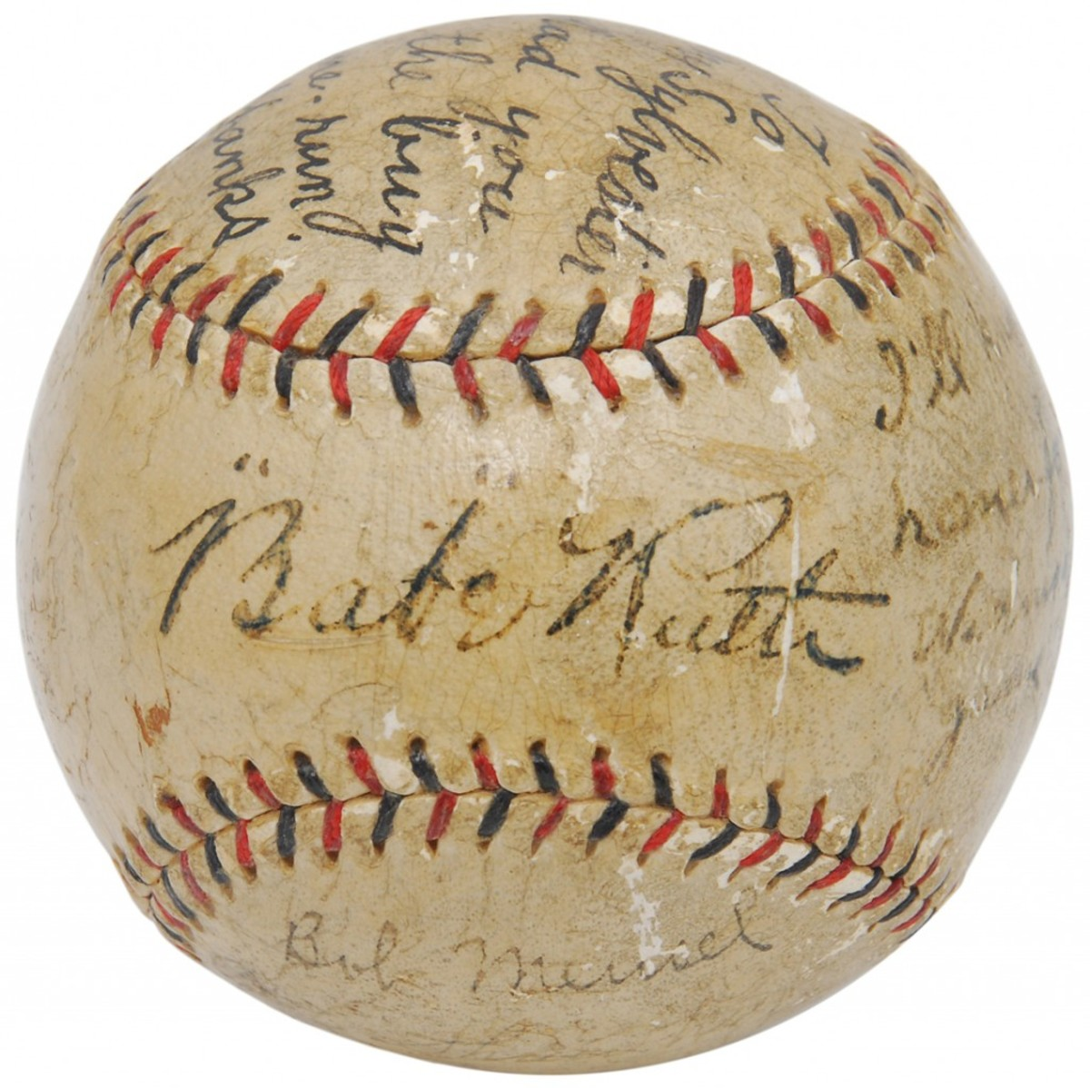 "The ""I'll Knock a Homer For You"" baseball autographed by Babe Ruth and inscribed by five other New York Yankees. Grey Flannel Auctions image."