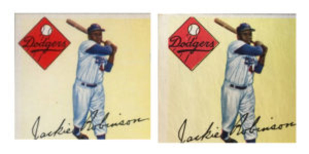 Long-time dealer Rob Rosen has purchased three 1955 Topps Jackie Robinson cards that are missing part of the diamond logo (right). The vast majority of the Robinson cards from that set contain a complete diamond logo (left). (Rob Rosen photos)