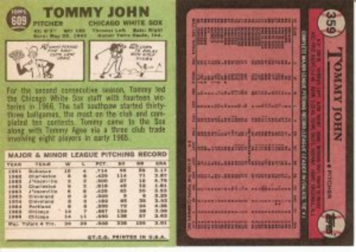 In 1967, there was still room to include seven lines of text on the back of John's card, along with his stats. His 1989 stats were nearly impossible to read, and there was certainly no room for any text.