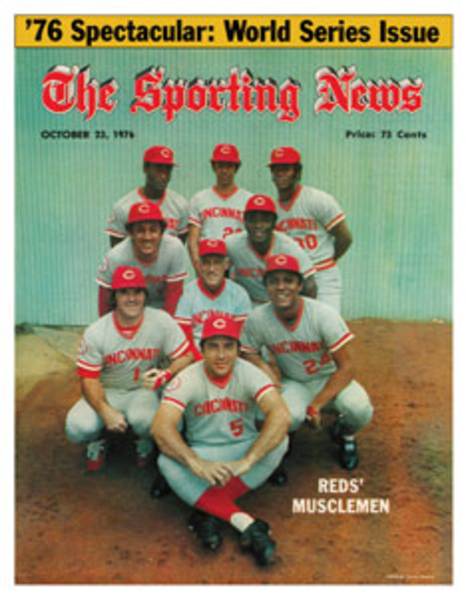 Featured on the cover of The Sporting News in 1976: Back Row (from L-R): George Foster, Cesar Geronimo and Ken Griffey. Middle Row: Dave Concepcion, Sparky Anderson and Joe Morgan. Front Row: Pet Rose, Johnny Bench and Tony Perez.