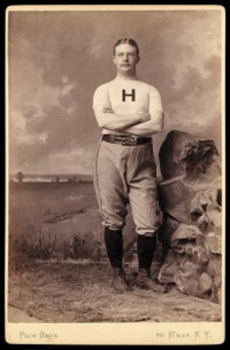"Mike ""King"" Kelly often gets credited as the inspiration for ""Casey at the Bat,"" but it was more likely Samuel Winslow, Ernest Thayer's college friend and captain of Harvard's baseball team. The Winslow cabinet photo here dates to 1885. It fetched $705 at a Robert Edward Auctions event in 2008."