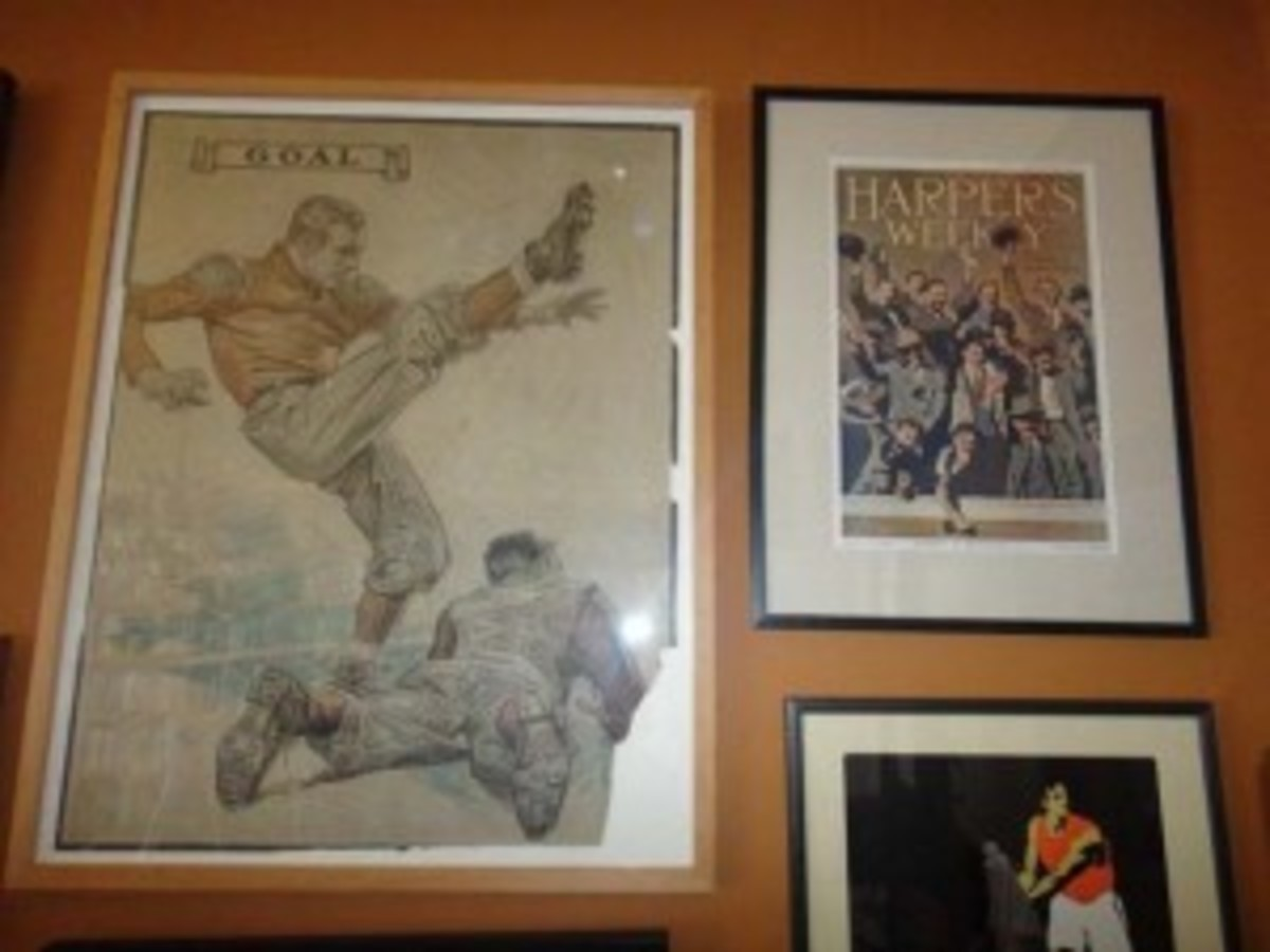 """At left, a J.C. Leyendecker premium, which he did for Street & Smith's, a publisher of boys' weeklies. """"I bought it in this horrible crumbled condition and framed it,"""" Thorn said. """"I made no attempt to restore it. I've never seen another.."""" At right, a Harper's Weekly cover showing fans at a baseball game."""