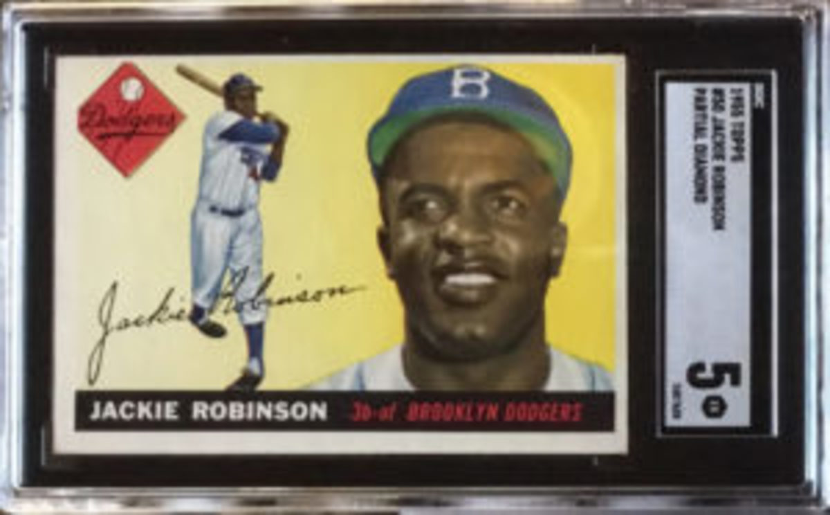 Two of the 1955 Topps Jackie Robinson cards that Rob Rosen owns were graded by SGC, with each receiving a grade of 5.