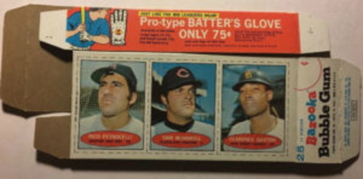 The placement of the Bazooka Baseball Card panels was centered on the back of the boxes in other years, such is this 1971 example.