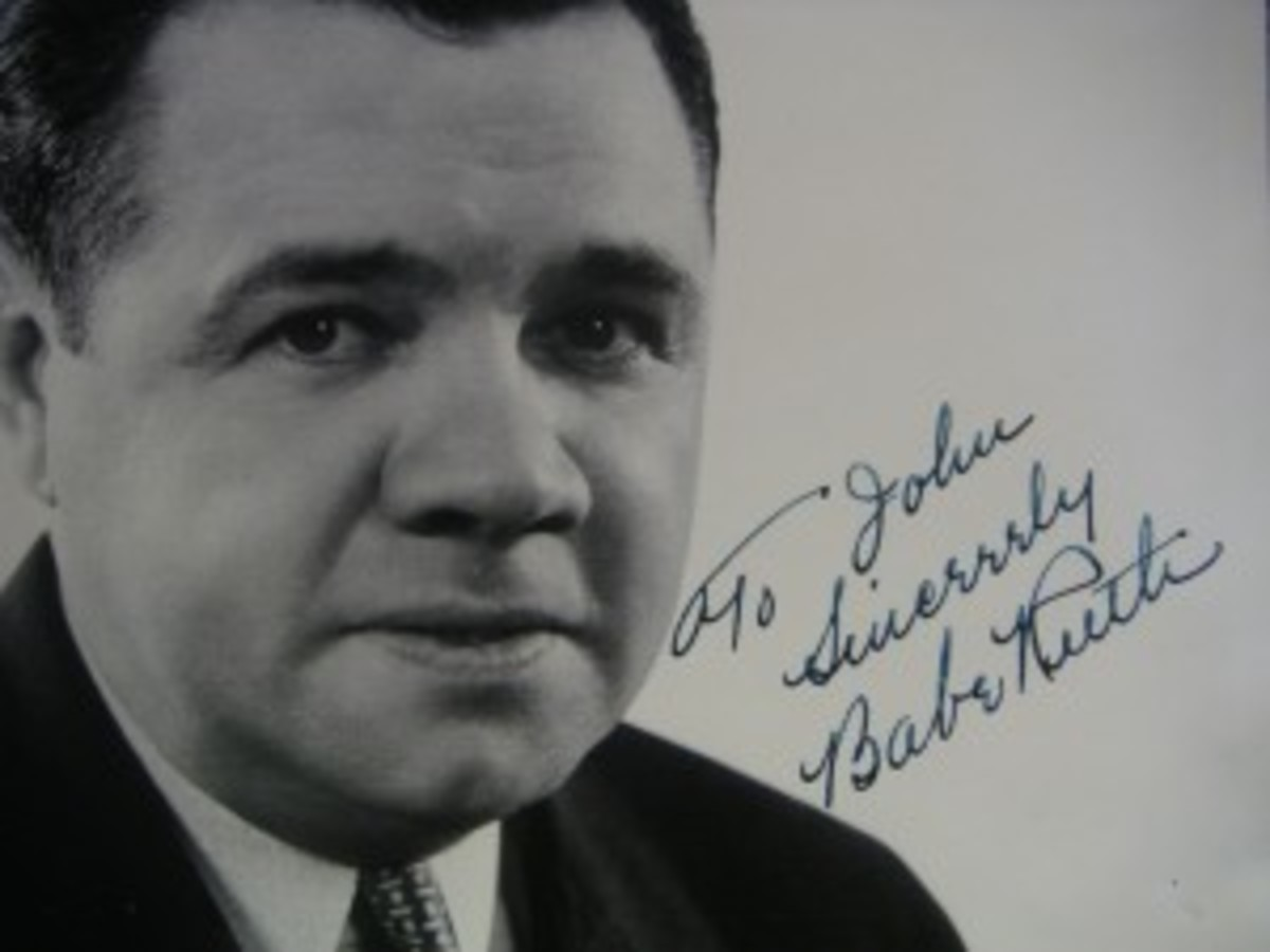 Babe Ruth signatures were among the most commonly forged sports autographs in 2012, according to PSA/DNA Authentication Services. This is an example of a fake Ruth signature in the opinion of PSA/DNA.