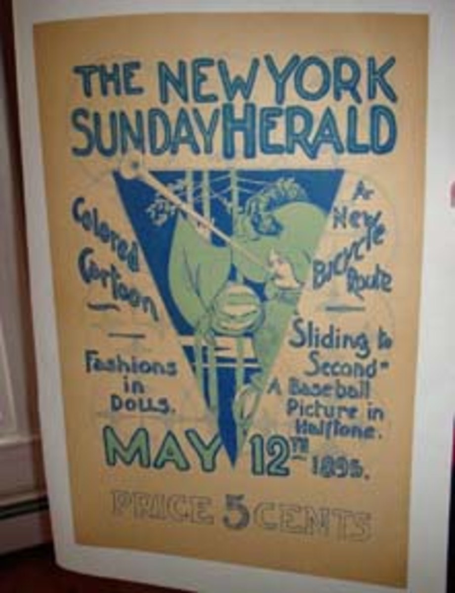 """An 1895 poster promoting the New York Sunday Herald whose contents included """"Sliding to Second,"""" a baseball picture in halftone."""
