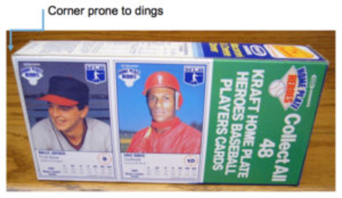"""The 1987 Kraft baseball card panels are printed up to the edges of the boxes making the card near the bottom of the box susceptible to """"dings."""""""