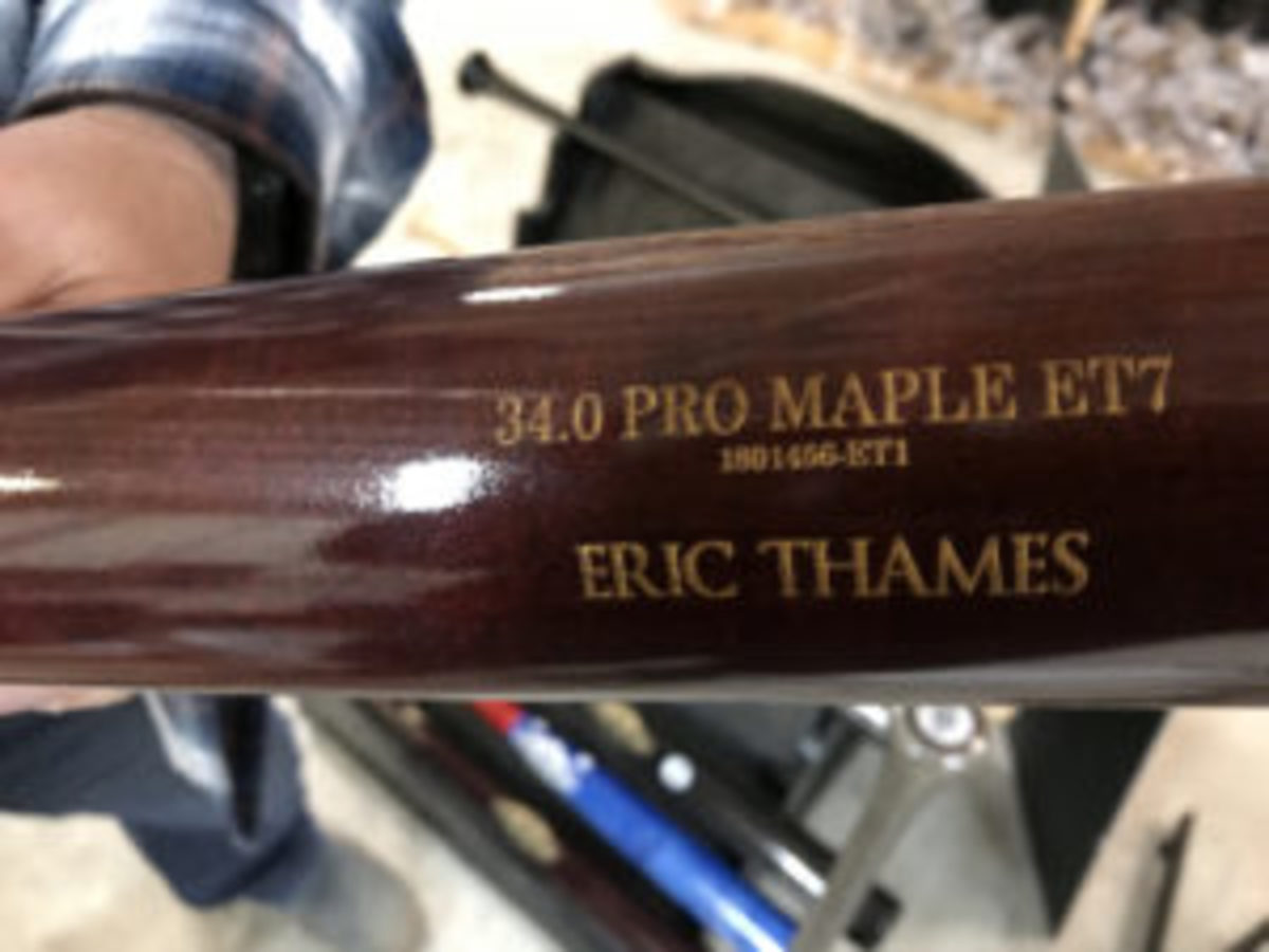 Each Old Hickory bat made for the major leagues has an individual identification number.