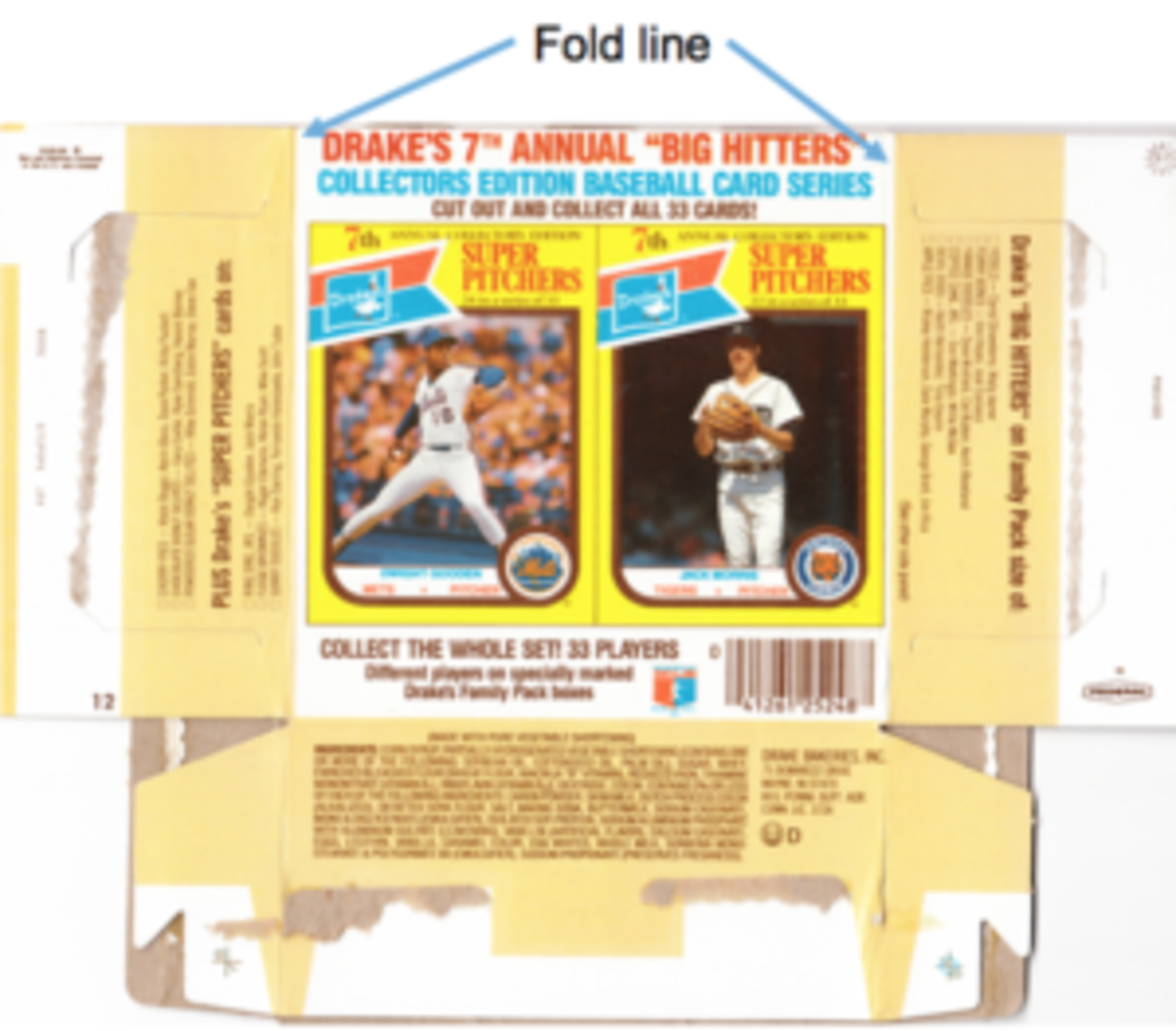 1987 Drakes Ring Ding box with Dwight Gooden and Jack Morris panel. The fold line was on the right hand border of the Morris card.