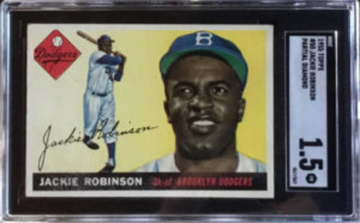 """The third Jackie Robinson """"Partial Diamond"""" variation card Rob Rosen owns received a grade of 1.5."""