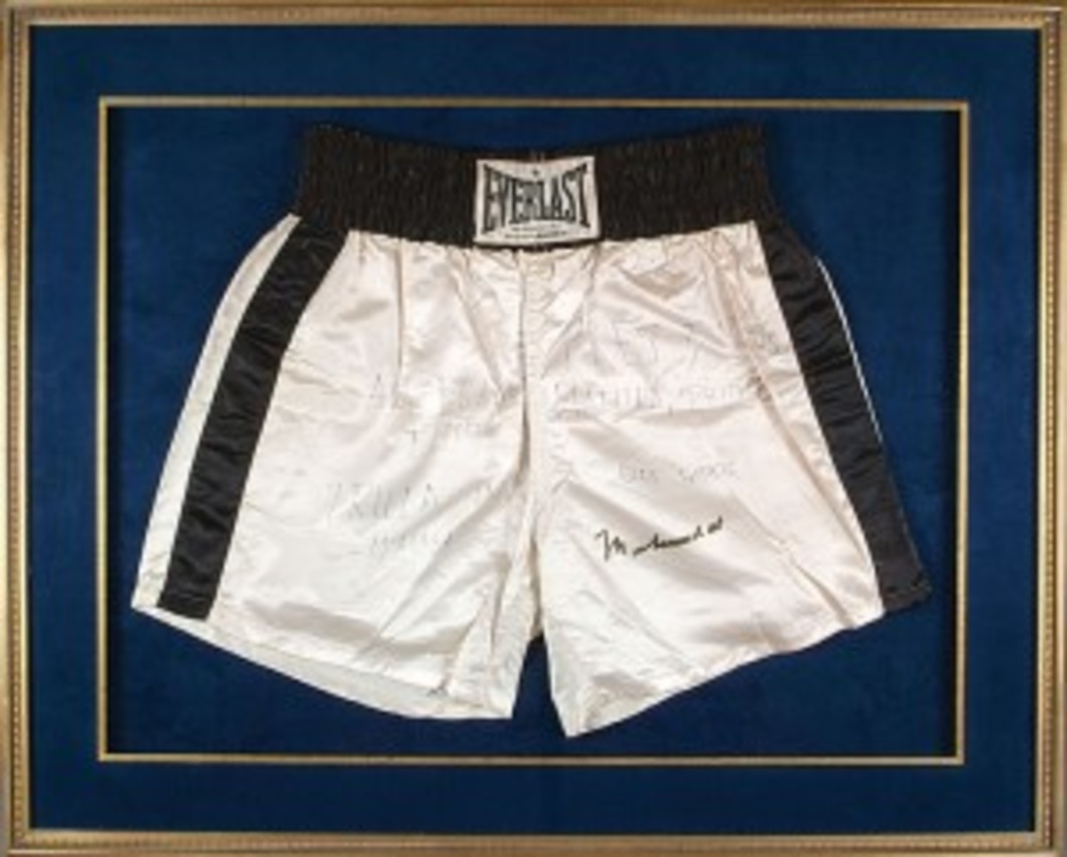"Muhammad Ali Fight-Worn Trunks from the ""Thrilla in Manilla"" Bout Against Joe Frazier (Ex-Drew ""Bundini"" Brown Collection; and Photo and Video Matched!) (res. $25,000; est. $50,000+)."