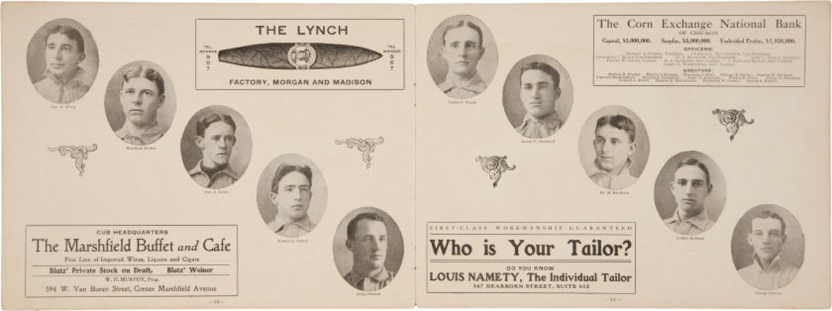 This inside look at the 1908 World Series program gives fans a glimpse of the famous Tinker and Evers (no Chance), among other key members of the Chicago Cubs. Courtesy of Heritage Auctions.