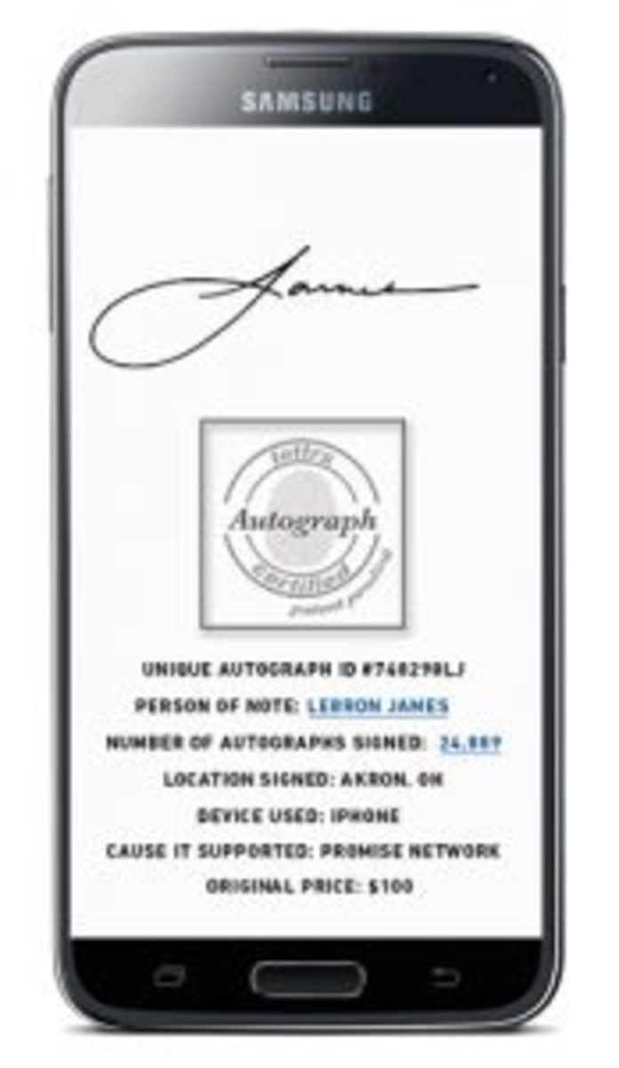 A mobile device app developed by lettrs allows athletes and fans to interact with each other. Athletes sign their digital letters for fans. Images courtesy of lettrs