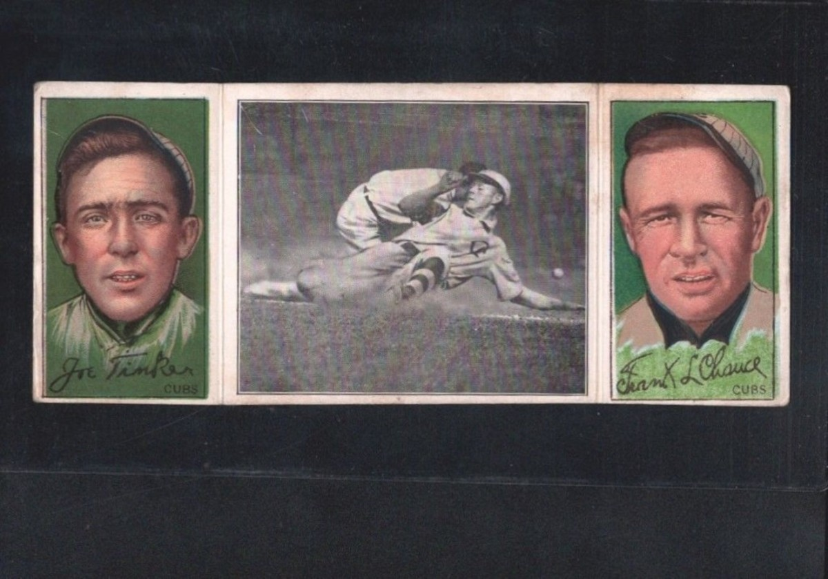 "The 1912 T202 Hassan Triple Folders has many Cubs options, but the best might be ""Evers Makes a Safe Slide,"" No. 64 in the set featuring all three members of the famous trio."