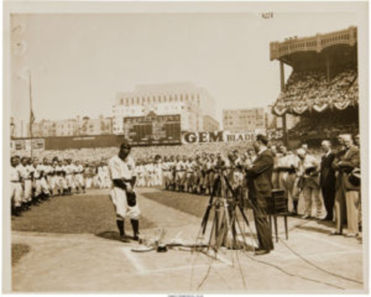 A 1939 Lou Gehrig Farewell Speech Original News Photograph, PSA/DNA Type 1. (Imaged by Heritage Auctions, HA.com)