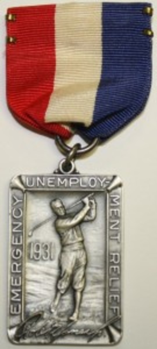 This beautiful medal from 1931 depicts Bobby Jones and is from a series of Emergency Unemployment Relief tournaments.