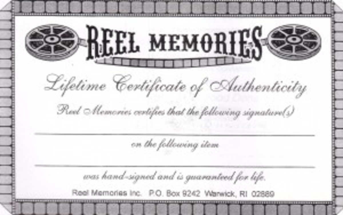 "The COA of Reel Memories. The company was busted by the FBI for selling counterfeit celebrity and Hollywood memorabilia. However, Reel Memories is not listed on eBay's ""not allowed"" list, according to the author's investigation."