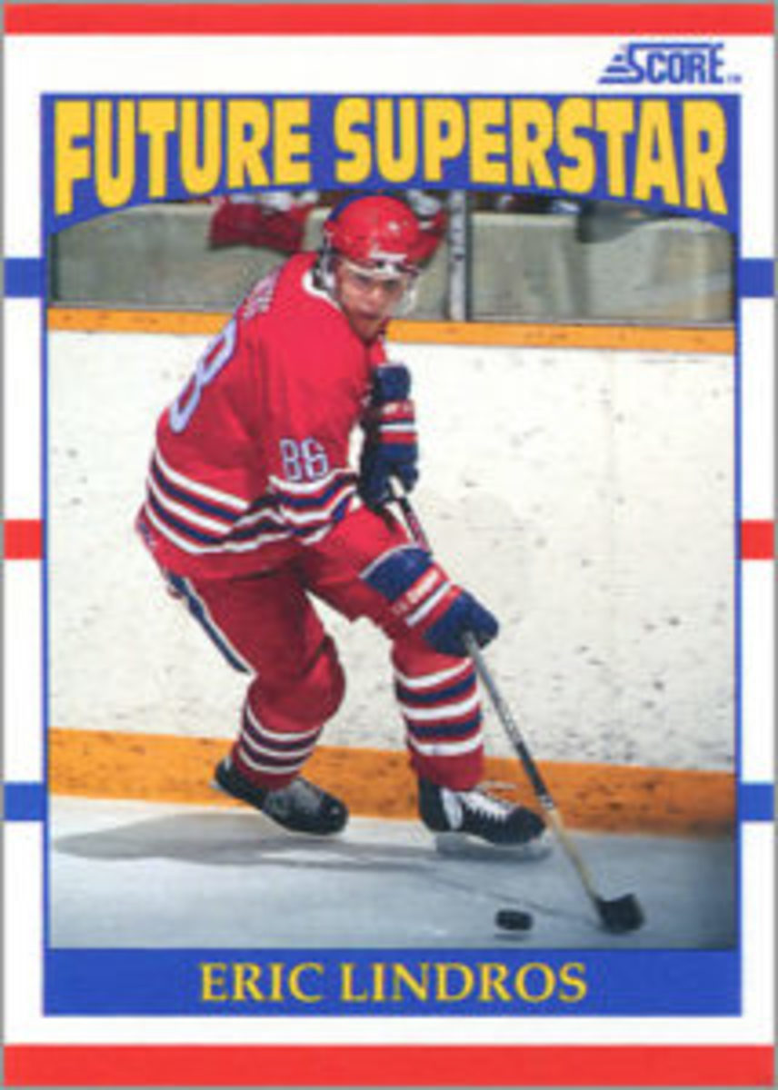 This Eric Lindros card released by Score is considered his rookie card.