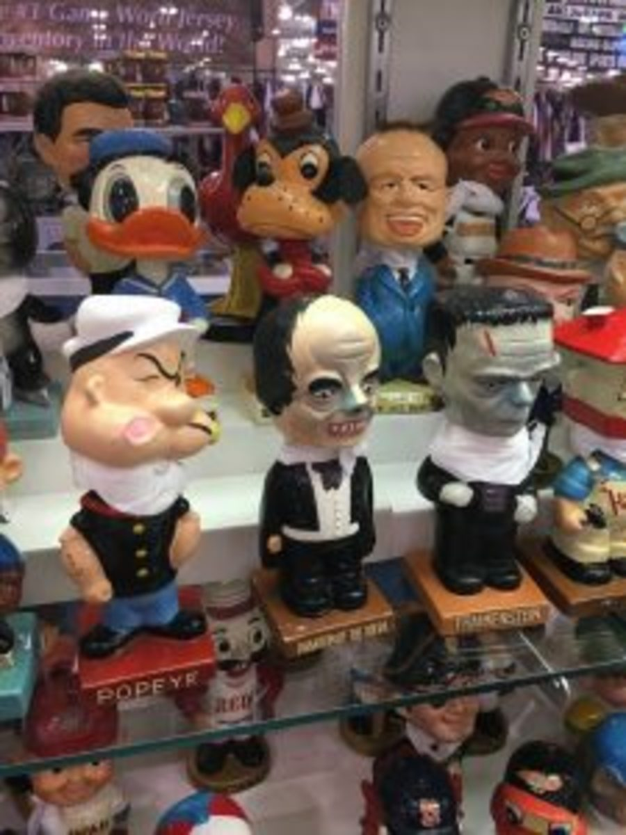 Even with hundreds of sports-related bobbleheads on display, the rarest ones offered by Inside the Park were Popeye, Phantom of the Opera and Frankenstein.