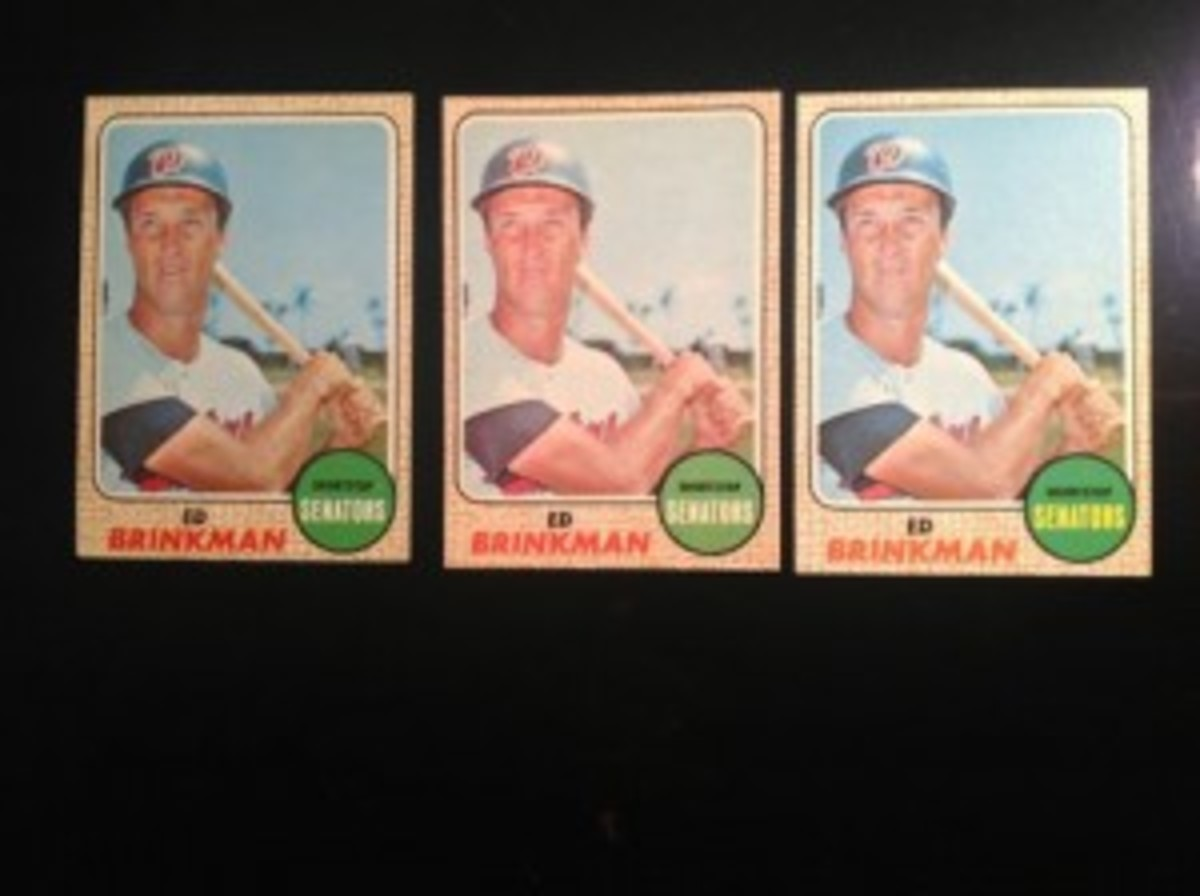 Pictured are the following Ed Brinkman cards: Regular '68 Topps, '68 O-Pee-Chee and 1968 Milton Bradley.
