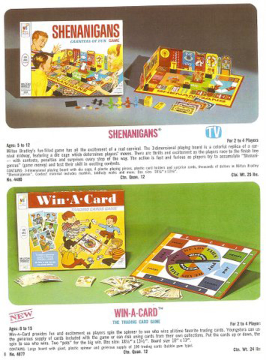 Pictured is the promo sheet Milton Bradley took to New York in February 1968, for the International Toy Fair. Note the top game was promoted on TV, the Win a Card game was not. If you look closely, all the 1968 cards are from the 1st Series (burlap background/tan broad mesh). This includes the Denny McLain card #40, which was not part of the 77-card Milton Bradley set.