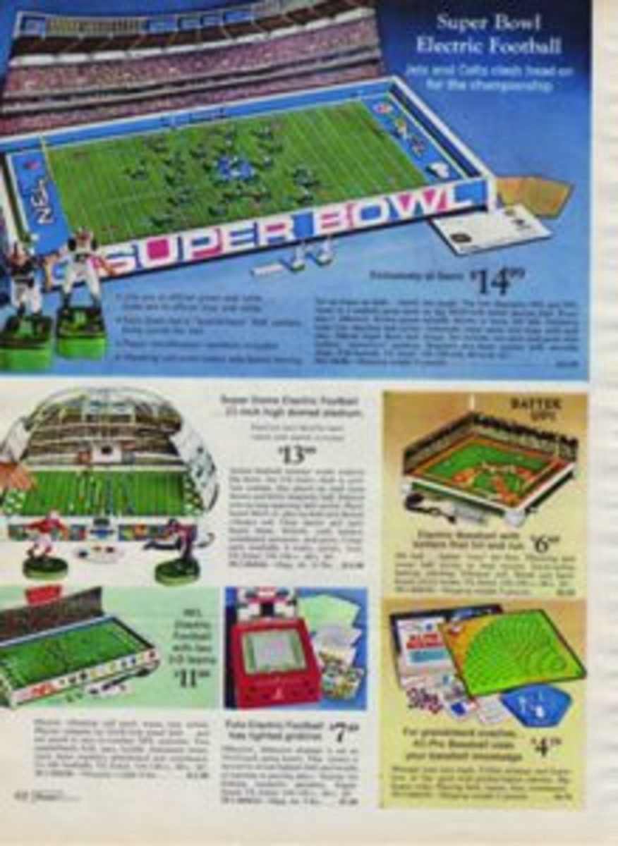 In 1969 an Electric Football game featuring the New York Jets and the Baltimore Colts was popular.