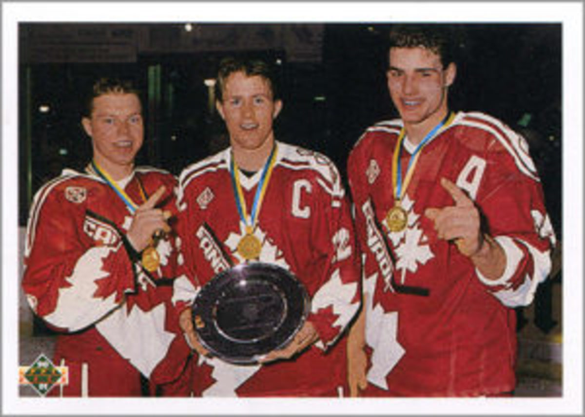 """Upper Deck didn't have the rights to release an Eric Lindros card, but that didn't stop them from releasing one that also included Kris Draper and Steven Rice in the 1990-91 """"High Numbers"""" update set, as part of its """"World Junior Champions"""" subset."""