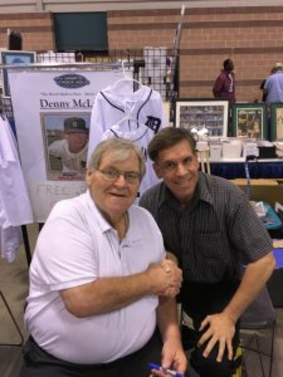 Giving Denny McLain an assist with security provided a signed memento and photo-op as a thank you.