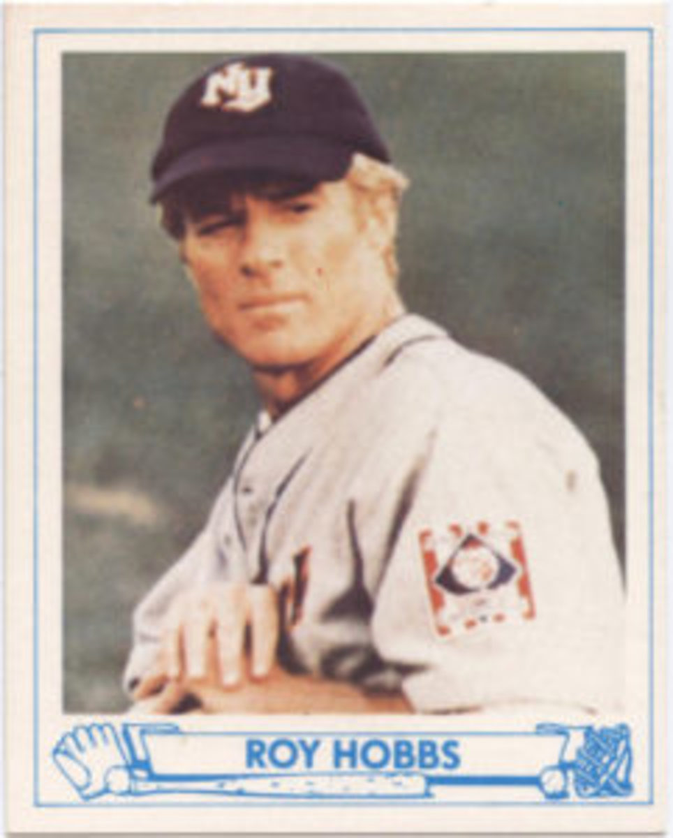 A Roy Hobbs baseball card modeled after the 1940 Playball set.