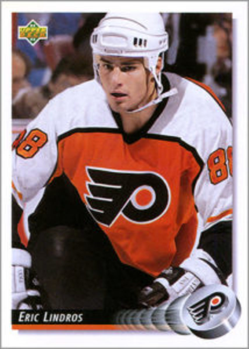 Upper Deck digitally manipulated a photo, placing Lindros' head on Rod Brind'Amour's body for a card in its 1992-93 Hockey set.