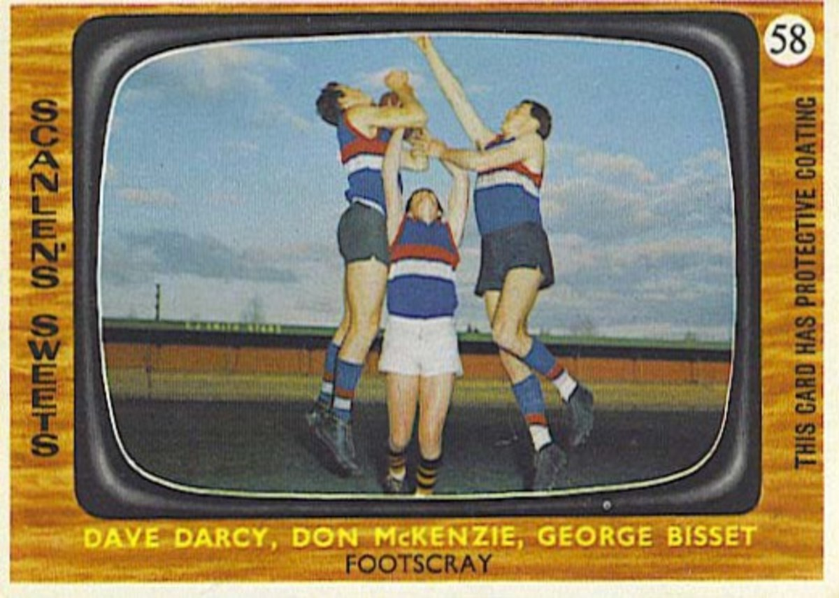 The design of this 1967 Australian football card was apparently licensed through Topps, who used this same TV console design on their 1966 football and hockey cards.