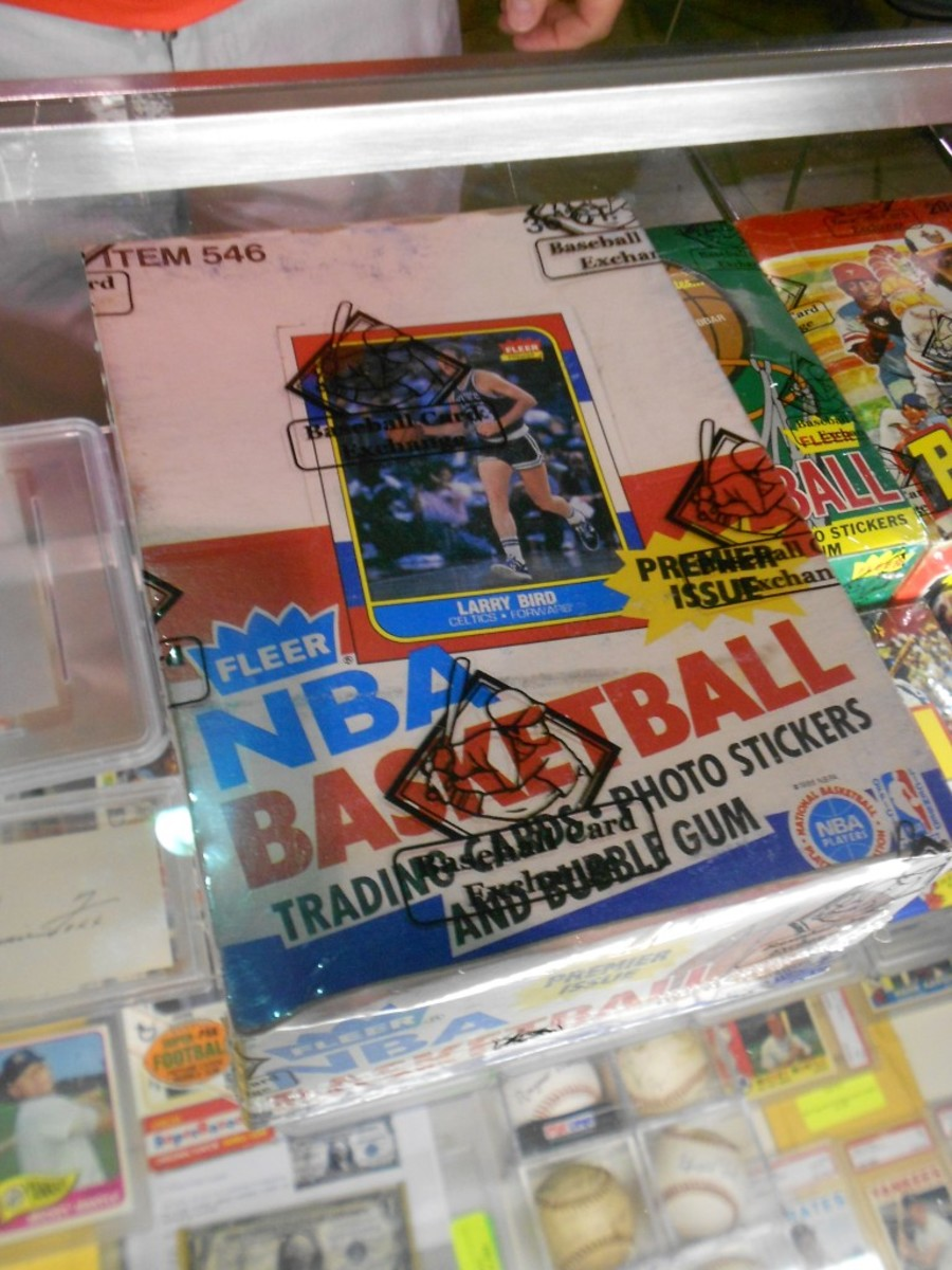 This 1986-87 Fleer Basketball wax box sold for $33,065 in a Collect Auctions bidding event that ended Aug. 6. The price is thought to be a wax box record for the company. All photos by Reid Creager.