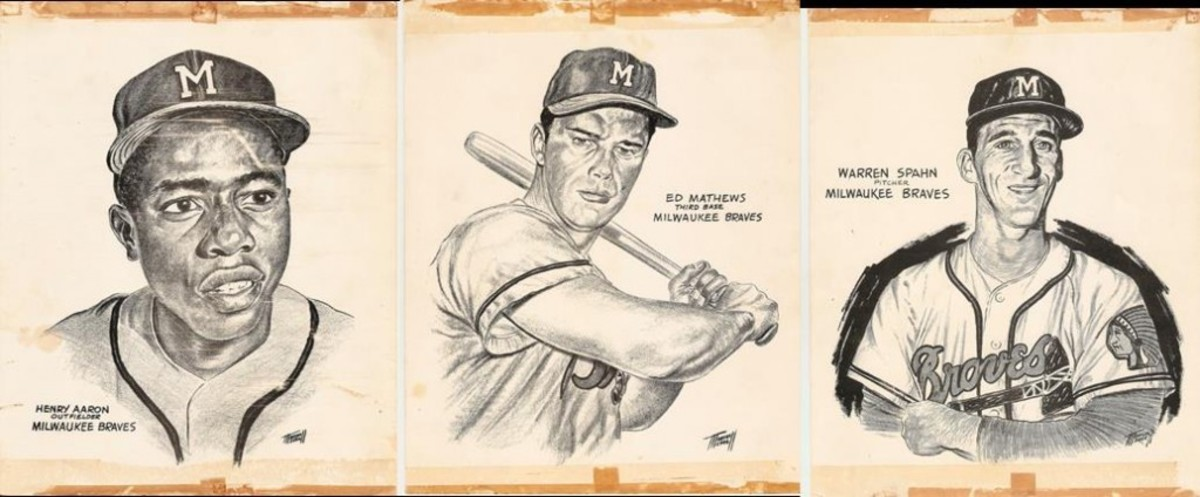 Marshall Merrell Braves prints of Aaron, Spahn and Mathews – along with some scotch tape marks.
